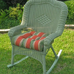 International Caravan - 58 in. Wicker Outdoor Rocker (Antique Moss) - Finish: Antique MossUV light fading protection. Water resistant coating and deep seated. Made from resin and steel. Minimal assembly required. 58 in. W x 56 in. D x 76 in. H (72 lbs.)A perfect addition to your new garden or patio.