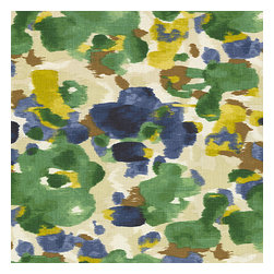 Blue & Green Dappled Watercolor Fabric - Abstract watercolor pattern dappled with bold, modern tones of emerald green, cobalt blue & golden mustard.Recover your chair. Upholster a wall. Create a framed piece of art. Sew your own home accent. Whatever your decorating project, Loom's gorgeous, designer fabrics by the yard are up to the challenge!