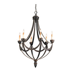 Kathy Kuo Home - Black Wrought Iron Regency 6 Light Bronze Gold Chandelier - Some call it Regency Style, others call it Empire Style, but everyone agrees the look is eternally elegant and captured beautifully in this traditional black six light chandelier.  In black with bronze gold details, and a draped, ribbon effect, this is a perfect accompaniment to a townhouse, country house or apartment where 18th century interior styles are celebrated.