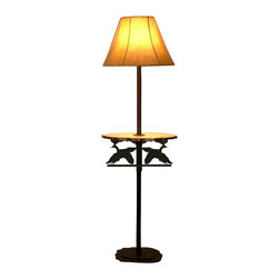 "Wildlife Decor LLC - Rustic Floor Lamp with Pine Shelf, Wrinkle Black, Flying Duck - Rustic floor lamp comes with pine shelf and 3-way switch rated to 150 watts. The heavy double 3/16"" thick base with 4 metal feet/glides measures 12"" wide and 9.5"" deep to add stability to the lamp. The overall height of the lamp is 59.5"". The shelf measures 18"" wide by 11"" deep and is 30.5"" from the floor. The shade is 15"" at the bottom, 5.5"" at the top and is 11.5"" high."