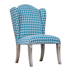 Winesett Blue Armless Chair - Plush Chenille In Pacific Blue And Ivory, On Hardwood Mango Frame Hand Finished In Aged White.