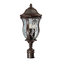 """Savoy House - Country - Cottage Monticello Collection 23 1/2"""" High Outdoor Post Light - From Savoy House this distinctive outdoor post light is part of the Monticello Collection. Shapely features and graceful contours define this classic design. Light refracts beautifully through clear water glass and a rich walnut patina finish completes this look. A wonderful addition to your exterior. Walnut patina finish. Clear water glass. Takes three 60 watt candelabra bulbs (not included). 10 1/4"""" wide. 23 1/2"""" high. Post not included.  Walnut patina finish.   Clear water glass.   Takes three 60 watt candelabra bulbs (not included).   10 1/4"""" wide.   23 1/2"""" high.   Post not included."""
