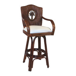 Hospitality Rattan - Hospitality Rattan Lucaya Rattan & Wicker Antique Swivel Counter Height Stool - Travel to the islands with The Lucaya Counter stool. This Barstool features fine rattan and wicker weaving along with a fiber palm tree casting design. It makes for a wonderful island setting for any bar area or counter. The counter stools feature commercial grade reinforced rattan bases swivel mechanisms & reinforced double pole footrests. The stool will come with instructions and requires assembly. This counter stool comes with a comfortable beige cushion as shown. For an upcharge you can choose from your choice of over 35 indoor fabrics with a variety of colors and patterns to match your decor. With the Lucaya Counter stool you will entertain and impress your guests Since 2000 Hospitality Rattan has been designing and distributing contract quality rattan wicker and bamboo furnishings. A variety of indoor and outdoor collections derived from the best possible materials is available for the furniture buyer who wants that tropical feel. Features include Includes cushion with fabric as shown Swivel Mechanism Included Constructed of commercial quality rattan poles Requires Some Assembly (Instructions Included). Specifications Finish: TC Antique Material Type: Rattan Poles & Woven Wicker.