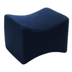 "Living Healthy Products - In Between the Knee Pillow - Designed to help relieve pressure and strain on the lower back, knees, and ankles. Unique shape fits leg contours and more. Velcro tabs for maximum adjustability. Washable cover in white or blue polycotton. Size: 10 "" x 6 """" x 5 1/2 """""""