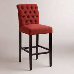 World Market - Firebrick Red Harper Barstools, Set of 2 - The tufted back of our plush Firebrick Red Harper Barstools creates instant drama. Crafted of espresso-finished hardwood with linen-blend upholstery, they're a sophisticated seating option.