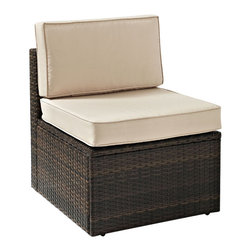 Crosley Furniture - Crosley Furniture Palm Harbor Outdoor Wicker Center Chair - Enjoy entertaining outside with our elegantly designed all-weather resin wicker center chair.� This finely crafted collection features intricately woven wicker over durable steel frames and UV/Fade resistant cushions providing both comfort and style. ��Clean lines marry with sophisticated design offering endless seating configurations.� Pair with any number of our wicker sectional options for a customized layout perfect for any outdoor space.