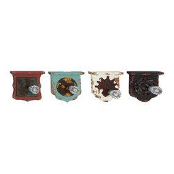 Striking Wood Metal Acrylic Wall Hook, Set of 4 - Description: