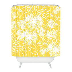 DENY Designs - Vy La Bright Breezy Yellow Shower Curtain - Who says bathrooms can't be fun? To get the most bang for your buck, start with an artistic, inventive shower curtain. We've got endless options that will really make your bathroom pop. Heck, your guests may start spending a little extra time in there because of it!