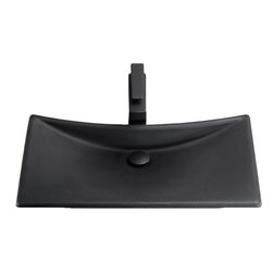 """Toto - Toto FLT132 Matte Black Waza Noir Cast Iron Lavatory - Toto's FLT132#80 is a cast iron lavatory sink that measures 24"""" by 15"""", and it comes in a dramatic matte black finish."""