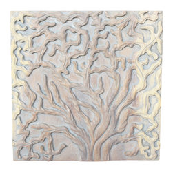 Kammika - Wall Panels Tree of Life Solid 18x18x1 inch Set of 3 Sus Wood w Livos Agate Grey - This Sustainable Wood with Eco Friendly Natural, Food-safe Livos Agate Grey Oil Finish Wall Panels Tree of Life Solid 18 inch x 18 inch x 1 inch tri-panel set shows the body of the tree, tree trunks, the branches, and life cycle slice with rings to count. Hand carved and then chiseled for a 3D look, each panel in this set of 3 panels is 18 x 18 x 1 inch Depth (Thickness), and has two hangers on the back. Finished with Livos Agate Grey Oil, a highly water resistant and food safe finish, the oil makes the wood turn to an antique white look with a light grey patina finish. The light portions of wood turn to shades of beige and the dark wood lightens to shades of brown with a light transparent grey top coat over the white antique looking undercoat. Some people think it is fossilized stone at first. The concept of a many-branched tree has been used in science, religion, philosophy, and mythology. Two varieties of the Fig, the Banyan tree and the Peepal tree are revered in the Indian tradition, and both are considered the trees of life. The Banyan symbolizes fertility and is worshipped by those wanting children. It is also referred to as the Tree of Immortality. Each panel in this set of 3 is hand carved - no two are alike. After each Sustainable Monkey Pod Wood (Acacia, Koa, Rain Tree grown for wood carving) piece is kiln dried, carved, sanded, and finished, they are packaged with cartons from recycled cardboard with no plastic or other fillers. No chemicals are used in the process. Made from the branches of the quick-growing Acacia tree in Thailand - where each branch is cut and carved to order (allowing the tree to continue growing), the color and grain of your panel will be unique, and may include small checks or cracks that occur when the wood is dried. Sizes are approximate. Products could have visible marks from tools used, patches from small repairs, knot holes, natural inclusions, and/or worm holes. There may be some slight variation in size, color, and finish.Only listed product included.