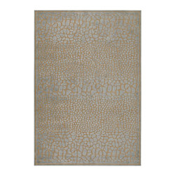 "Surya - Surya Basilica BSL-7111 (Blue Grey, Beige) 5'2"" x 7'6"" Rug - The rugs of Surya's Basilica Collection are distinctive and textural with high contrast color palettes and shimmering details. Machine made in Turkey from a combination of viscose and acrylic chenille, these rugs are durable, stylish, and priced right. Modern motifs and cutting edge construction, they make a sophisticated statement in any transitional or contemporary space."