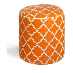 Fab Habitat - Tangier - Carrot & White Pouf - Moroccan-inspired shapes never looked so chic than as the posh pattern for this modern pouf. Handmade from recycled materials by skilled artisans, this stylish pouf comes in a variety of  vivid colors and will work equally well as an ottoman in your living room, or a stool in your vanity area.