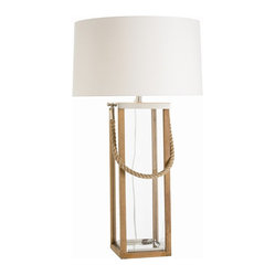 Arteriors - Tate Tall Lamp - Perfect for your beach house — or to give any casual setting a subtle seashore vibe — this lamp is the catch of the day. Crafted of wood, polished nickel and rope plus a classic linen shade, it pulls off nautical chic without looking kitschy.