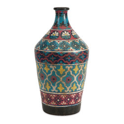 Imax - Kabir Multi Color Bronze Blue Red Small Hand Painted Vase Decor - Kabir multi color bronze blue red small hand painted vase living, dining and family room home accent decor
