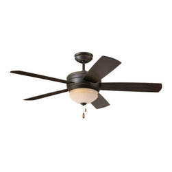 "Emerson - Emerson CF850GES 52"" Summerhaven Outdoor Ceiling Fan - Blades and Light Kit Incl - Emerson CF850GES Summerhaven 52"" Summerhaven Outdoor Ceiling Fan - Blades and Light Kit IncludedA versatile outdoor capable fan, the Summerhaven will add a pleasant breeze to any outdoor location. The fine Golden Espresso finish paired with the beautiful Amber Mist integrated light fixture and matching blades to make for a gorgeous addition to any outdoor application. Add an optional remote or wall control for a truly relaxing experience with the touch of a button. No outdoor location should be without a Summerhaven fan.Emerson CF850GES Features:"