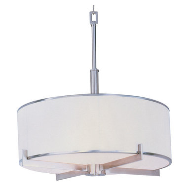 Nexus Entry Foyer Pendant by Maxim Lighting - Nexus Entry Foyer Pendant features a flat rectangular tube arm that forms to a perfect angle and comes finished in choice of satin nickel or oil rubbed bronze. The white fabric drum shade is trimmed with metal rings in matching finish for a clean, tailored look. Requires (4) 100 watt, 120 volt, medium base incandescent bulbs not included. 22W x 24.5H.