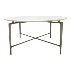 "Oly Studio - Oly Studio Ray Dining Table - The modern Oly Studio Ray dining table blends textured elements for a striking stance. Beneath a round resin top, its sleek cast aluminum base lends industrial edge. 60.25"" Diameter x 30""H; Available in several top and bottom finish options"
