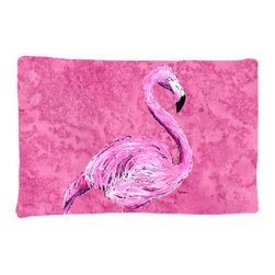 Caroline's Treasures - Flamingo on Pink Fabric Standard Pillowcase Moisture Wicking Material - Standard White on back with artwork on the front of the pillowcase, 20.5 in w x 30 in. Nice jersy knit Moisture wicking material that wicks the moisture away from the head like a sports fabric (similar to Nike or Under Armour), breathable performance fabric makes for a nice sleeping experience and shows quality. Wash cold and dry medium. Fabric even gets softer as you wash it. No ironing required.