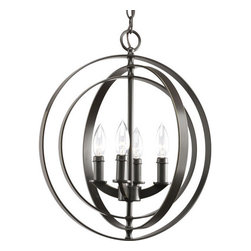 "Thomasville Lighting - Thomasville Lighting P3827-20 Antique Bronze Equinox Equinox 4 Light - Thomasville Lighting P3827-20 Four Light Equinox Foyer PendantInspired by ancient astronomy armillary spheres, add a rustic Old World flair to your study, home office, or living room. This four light sphere foyer lantern features functional interlocking rings that actually pivot for an infinite variety of positions.Renew a room with Equinox pendants inspired by ancient astronomy armillary spheres. Featuring a combination of classic and modern inspirations, Equinox contains interlocking rings that can be rotated in different ways for a variety of looks for interior settings.Thomasville Lighting P3827-20 Features:Antique Bronze FinishSeveral Optional Shades AvailableThomasville Lighting P3827-20 Specifications:Number of Bulbs: 4Watts Per Bulb: 60Bulb Base: CandelabraBulb Type: IncandescentBulb Included: NoUL Listed: Dry LocationHeight: 18.375""Maximum Overall Height: 94""Wire Length: 180""The story of Thomasville began in Thomasville, North Carolina, in 1904. At the time, they offered just one product – a chair. The ""Thomasville Chair"" it was called. The chair was so beautifully crafted and well made that people responded by asking them to create other pieces as well. For over 100 years Thomasville has set the standard for luxury design for the entire furniture industry. Now Thomasville is making available over a century of expertise in quality craftsmanship and exquisite styling in a stunning new line of elegant lighting. Thomasville Lighting will add beauty and value to your home with the timeless style and superior workmanship you have come to expect only from Thomasville."