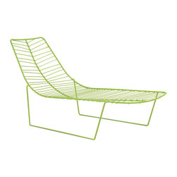 Arper Leaf Chaise/Daybed - This Arper chaise is absolutely wonderful. The leaf pattern as the bed is delicate and totally interesting. The steel materials and lime color give it a retro feel in a totally modern package. The lime green color is playful but a great play on the natural green of leaves. It would look totally elegant pool side.