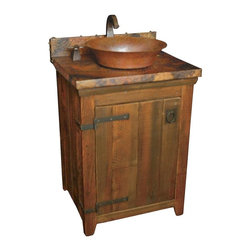 Native Trails - 24 in. Old World Vanity Base (Chestnut) - Finish: Chestnut. Pictured in Chestnut. Reclaimed Wood. Handcrafted in the USA. Offers a large sorage compartment. Standard sizes that easily fit custom vanity tops. Vanity top not included. Sink not included. Faucet not included. Drain not included. 24 in. L x 21.5 in. W x 32 in. H ( 50 lbs.). SpecificationsThe Old World Vanity Base is crafted from reclaimed wood which adds charm as well as sustainability to its list of great qualities. Using superior craftsmanship, the vanities are all built by American artisans, using 98% recycled materials. The wood is reclaimed from old barns, barracks, fencing, and other structures. The iron hardware is forged by hand by blacksmiths who still use traditional techniques.