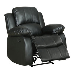 Homelegance - Homelegance Cranley Reclining Chair in Black Leather - The reclining Cranley collection utilizes release mechanism that with a gentle pull sends you straight into your ultimate comfort zone. Tufted bonded leather covers the overstuffed arms, seats and backs furthering the comfort for you, your family and friends. Offered in black or brown.