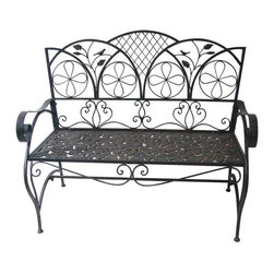 Alpine Fountains - Metal Sunleaves Bench - Metal Construction. Assembly Required. Overall Dimensions: 46 in. L x 26 in. W x 37 in. H ( 30 lbs. )