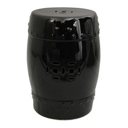 """Oriental Furniture - 18"""" Solid Black Porcelain Garden Stool - Round porcelain garden stool with a Zen monochrome black glaze. Features textured accents and pierced medallion designs on the side and 11""""-diameter top. Use a pair for end tables, or as a display stand for a statue or lamp."""