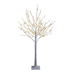 Lightshare - Lightshare BirchTree: 10 Icicle Twinkling Light, Warm White, 4ft 48 lights - You will get a free gift with this purchase which is 10 LED Icicle Twinkling (white/Blue) Decoration Light, 6.5ft length, with 3AA battery operated, which is packed in a nice color box together with the snow tree package.