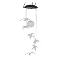 Alpine Fountains - Set of 6 Hanging Hummingbirds with Color Chan - Material: Acrylic and Metal. No Assembly Required. Overall Dimensions: 6 in. L x 6 in. W x 30 in. H ( 0.61 lbs. )