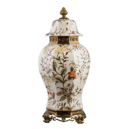 Oriental Danny - Porcelain Jar with Bronze Ormolu - This elegant hexagonal shaped porcelain jar is a hand made and hand painted. Accent with Bronze ormolou.  Great for decoration. Size: 10Lx10Wx22H  HEX JAR WITH BRONZE ORMOLU.