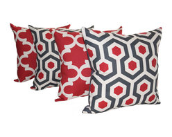 Land of Pillows - Premier Prints Magna and Fynn Timberwolf Red and Gray Throw Pillows, Set of 4 - Fabric Designer - Premier Prints