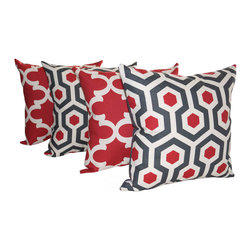 Land of Pillows - Premier Prints Magna and Fynn Timberwolf Red and Gray Throw Pillows - Set of 4, - Fabric Designer - Premier Prints