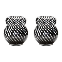 Lazy Susan - Whirl Bubble Votives - Set of 2 - This whirl bubble vase is mouth blown by a skilled craftsman using traditional techniques. The distinctive canes of black finish are blown into the glass.