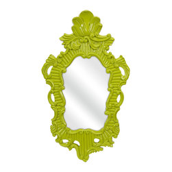 iMax - Finely Green Baroque Wall Mirror - In a vivid green baroque style frame, the Finely wall mirror adds a vintage style to any space.
