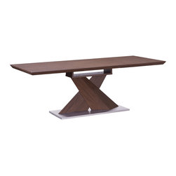 Zuo - Jaques Extension Dining Table - The Jaques Extension Dining Table is a masterpiece of modular design. With a graphic angular base and convertible top, the Jaques Extension Dining Table is wrapped in a walnut wood veneer atop a brushed stainless steel base. Comfortably seating six, this gorgeous modern table transforms to reveal a hidden leaf within the table's core to add seating for two additional guests. The Jaques Extension Dining Table is an epic centerpiece to a modern dining room. Or choose it for a warm and sophisticated conference table in an contemporary office. We love the mix of wood and metal, straight and angular lines, and modular sensibility. Pair with a set of our sleek leatherette dining chairs for the ultimate modern tablescape.