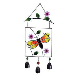 GWC - 14 Inch Framed Bumble Bee Stained Glass Hanger with Three Bells - This gorgeous 14 Inch Framed Bumble Bee Stained Glass Hanger with Three Bells has the finest details and highest quality you will find anywhere! 14 Inch Framed Bumble Bee Stained Glass Hanger with Three Bells is truly remarkable.