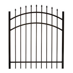 Specrail - Specrail Madison Aluminum Arched Gate 3-Rail Panel - 4 ft. Multicolor - GR1483A0 - Shop for Fencing and Fencing Materials from Hayneedle.com! Whether you re enclosing your pool protecting your property or setting apart a section of your yard for a garden the Specrail Madison Aluminum Arched Gate 3-Rail Panel - 4 ft. is an elegant and durable choice. Crafted from high quality heavy walled aluminum that won t rust this arched gate is also designed to be maintenance free which means you don t have worry about painting or staining! Made in the finest fabrication and finishing facilities in the industry this elegant gate has fully welded construction as well as welded corner gussets which add strength and durability. Made to look like wrought iron this arched gate includes two self-closing hinges and a pad-lockable gravity latch. It s also easy to install so you ll have it up in no time.Additional FeaturesUse with DIY Fence System Universal PostUse with the DIY Fence Belleville 483 Fence Panel SystemNot advisable to mix and match fencing brandsAll welded construction is durable and strongWelded corner gussets add strengthLooks beautiful and protects your propertyIncludes 2 self-closing hingesAlso includes pad-lockable gravity latchGives you the beauty of traditional wrought ironEasy to installAbout SPECRAILSPECRAIL has been designing aluminum products of the highest quality for over 50 years. They offer the widest selection of any ornamental aluminum fencing company and their extraordinary line includes 11 styles 4 grades and 5 colors. SPECRAIL brings beauty strength and a traditional wrought iron look to their maintenance-free aluminum fencing. Every piece they manufacture represents their strong commitment to meeting the needs of their customers and their dedication to quality.