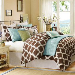 Hampton Hill - Hampton Hill Garden View Duvet Style Comforter Set - The Garden View collection will give any bedroom a fresh and modern look. The duvet style comforter features a woven Ikat trellis jacquard pattern in rich cholocate and vanilla colors. The Euro sham features a vanilla polyester slub with chocolate stitch border detail. The adjustable bedskirt is in solid vanilla. The three decorative pillows are accented of Spa Blue, Kiwi Green, with garden motif to complete this collection's garden theme. Comforter & Sham face: 100% polyester Jacquard; back: 100% polyester micro fiber; Filling: 340gsm polyfill. Bed skirt drop: 100% poly jac; platform: 100% polyester. Euro sham face and back: 100% polyester slub with sateen stitch on face. Square pillow 1 cover: 100% cotton slub with screen printing; filling: 100% polyester. Square Pillow 2 cover: 100% polyester dupioni w/ pleats; filling: 100% polyester. Oblong Pillow 3 cover: 100% polyester micro fiber with emb.; filling: 100% polyester