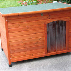 "Crown Pet Products - Slant Roof Cedar Dog House - Made with the finest materials like solid cedar, the Slant Roof Cedar Dog House will endure years of use with very little maintenance. Not only will your Pet find great comfort in their own domain, Cedar doghouses are resistant to pests, rot, weather and moisture. Cedar also offers natural insulation properties that keep your doghouse cooler in the summer and warmer in the winter. Built with strict quality standards, each is attractively finished inside and out with a waterproof cedar stain. The solid tongue and groove floor, not found in many other doghouses, reduces drafts and keeps pets warmer. The hinged, shingled roof includes a locking arm, (two on the large size) that provides easy access, and a security latch, (not available in most other doghouses), holds the roof closed in high winds. The offset door provides protection from the weather and includes a clear vinyl flap door that is split, making it easier for your Pet to enter and exit, while keeping the weather and dirt out. All-terrain, adjustable waterproof plastic feet will give you a true level home for your pet. Furthermore, the Slant Roof Doghouse will make an attractive addition to your back yard! Features: -Dog house. -Available in Medium and Large sizes. -Durable, solid cedar resists decay and insects while providing natural insulation and is attractively pre-stained inside and out with a waterproof finish. -Hinged, shingled roof includes two locking arms to provide easy access for cleaning. -Raised, solid tongue and groove cedar floor reduces drafts and provides airflow under the house to resist decay. -Security latch holds the roof closed in windy conditions. -Includes clear vinyl flap that provides protection from the elements and dirt. -Adjustable waterproof plastic feet give a true level home for your pet. -Offset door provides extra protection from the weather and dirt. -To insure durability and strength, stainless steel and galvanized screws are used throughout. -Assembly time is approximately 20 minutes. Specification: D. -Medium Door Dimensions: 18"" H x 12"" W. -Medium Exterior Dimensions: 27.5"" H x 41"" W x 26"" D. -Medium Interior Dimensions: 22.1"" H x 37"" W x 21.7"" D. -Large Door Dimensions: 20"" H x 13"" W. -Large Exterior Dimensions: 32.2"" H x 45.8"" W x 30"" D. -Large Interior Dimensions: 27"" H x 41.5"" W x 25.6"" D."