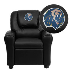 """Flash Furniture - Arkansas Fort Smith Lions Black Leather Kids Recliner with Cup Holder and Headre - Get young kids in the college spirit with this embroidered college recliner. Kids will now be able to enjoy the comfort that adults experience with a comfortable recliner that was made just for them! This chair features a strong wood frame with soft foam and then enveloped in durable leather upholstery for your active child. This petite sized recliner is highlighted with a cup holder in the arm to rest their drink during their favorite show or while reading a book. University of Arkansas - Fort Smith Embroidered Kids Recliner; Embroidered Applique on Oversized Headrest; Overstuffed Padding for Comfort; Easy to Clean Upholstery with Damp Cloth; Cup Holder in armrest; Solid Hardwood Frame; Raised Black Plastic Feet; Intended use for Children Ages 3-9; 90 lb. Weight Limit; CA117 Fire Retardant Foam; Black LeatherSoft Upholstery; LeatherSoft is leather and polyurethane for added Softness and Durability; Safety Feature: Will not recline unless child is in seated position and pulls ottoman 1"""" out and then reclines; Safety Feature: Will not recline unless child is in seated position and pulls ottoman 1"""" out and then reclines; Overall dimensions: 24""""W x 21.5"""" - 36.5""""D x 27""""H"""