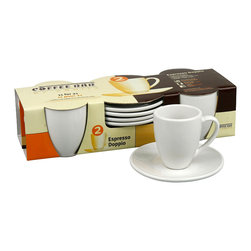 Konitz - Set of 2 Espresso Doppio Cups/Saucers - Double shot, please. Serve your guests (or yourself) the perfect shot of espresso every time. These classic café cups in white porcelain have a timeless look that'll never go out of style.