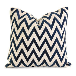 IMAX Worldwide Home - IK Maslow Embroidered Pillow with Down Fill - With a bold chevron pattern, the Maslow pillow features a cotton/linen blend designed by Iffat Khan. . Material: Cover: 70% Cotton, 30% Linen Filling: 70% Polyester, 10% Goose Feather. 20 in. H x 20 in. W x 6 in. (2 lbs)