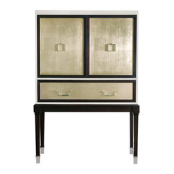 Kathy Kuo Home - Sadie Hollywood Regency Espresso Champagne Leaf Illuminated Bar Cabinet - Silver leaf shines throughout your room from the façade of this classic bar cabinet, beckoning guests to open the doors and help themselves to a cocktail from its glowing glass shelves.  The classic design makes this piece work beautifully in a traditional home while its luxurious finishes add Hollywood glamour.  Protected by a 2 year warranty.