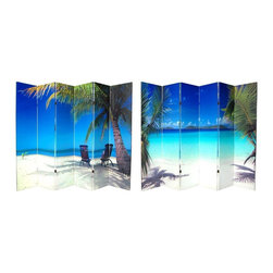 Oriental Furniture - 6 ft. Tall Double Sided Ocean Canvas Room Divider 6 Panel - Capture a piece of paradise with these two beautiful photographic prints of idyllic tropical beaches. On the front is a photo of two vacationers relaxing in the shade of a palm tree, admiring the deep blues of the sky and the sea. On the back is a picture of a beach on the Virgin Islands that will inspire you grab your snorkel and check ticket prices to the tropics. These peaceful, beautiful images will add a serene decorative accent to your living room, bedroom, dining or kitchen. This six panel screen has different images on each side, as shown.