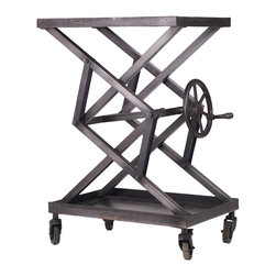 Adjustable Iron Apothecary Table, Large - This Adjustable Iron Apothecary Table is visually interesting without overpowering and is great for displays. Durably constructed and hand distressed on metal caster wheels for maximum versatility.