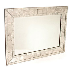 "Antique ""Brick"" Mirror - With the bold iconic European style built, this dramatic Antique ""Brick"" Mirror features a rectangular mirror outlined by a unique brick design art work. New from our French collection, this magnificent mirror is very apt for any huge setting. This mirror defines sheer luxury and reflects enormous brilliance."