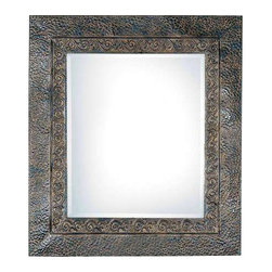 Uttermost Jackson Rustic Metal Mirror - Distressed dark rust brown with a light rust brown undercoat. This rustic metal frame features a brown finish with rust and black undertones. The inner lip has a fluer-de-lis detail and outer edge has a dented appearance. May be hung either horizontal or vertical.