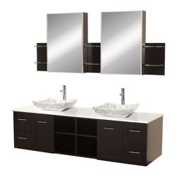 Wyndham Collection - Avara Espresso with White Man-Made Stone Top with White Carrera Marble Sinks - Make a statement with the Avara double vanity, and add a twist of the transitional to an otherwise modern classic. Dimensions: 72 in.