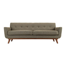 Modway - Engage Sofa EEI-1180 Oatmeal Tweed - Gently sloping curves and large dual cushions create a favorite lounging spot. Whether plopping down after a long day at work, settling in with coffee and brunch, or entering a spirited discussion with friends, the Engage sofa is a welcome presence in your home. Seven tufted buttons create eye catching appeal; adding depth that brings your sitting decor to center stage. Four cherry color rubber wood legs and frame supply a solid base to the comfortable upholstered material.